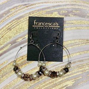 Francesca's. Beaded Hoop Statement Earrings